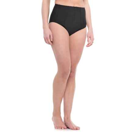PB Sport Zipper High-Waist Bikini Bottoms (For Women) in Black - Closeouts