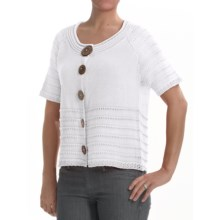 PBJ Blues Colette Cardigan Sweater - Ramie-Cotton, Short Sleeve (For Women) in White - Closeouts
