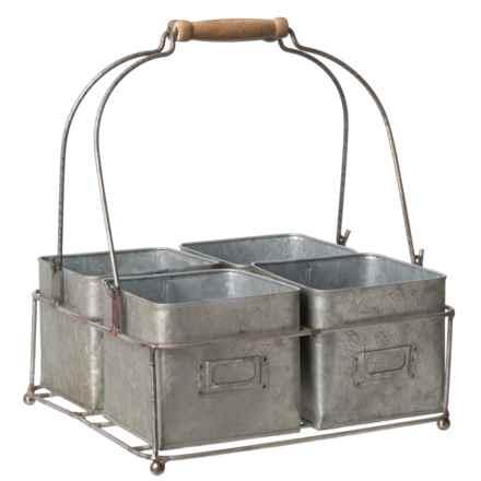 PD Home & Garden 4-Box Tin Planter in Silver - Closeouts