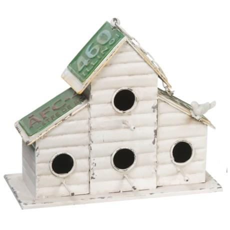 Pd Home & Garden 4-Hole Cabin Birdhouse in White/Green