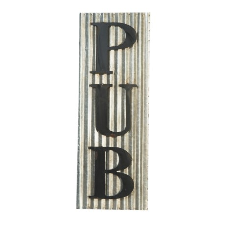 Pd Home & Garden Corrugated Tin Pub Sign in Black