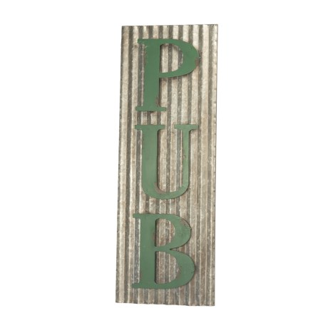 Pd Home & Garden Corrugated Tin Pub Sign in Green