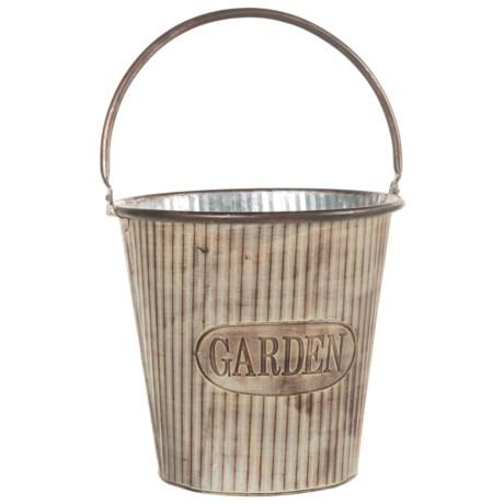 """Pd Home & Garden Garden Bucket - 11"""" in Silver"""