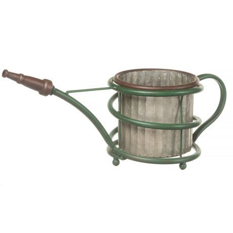Pd Home & Garden Hose Tin Watering Can Planter in Green