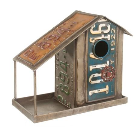 Pd Home & Garden License Plate Birdhouse/Feeder in Silver Multi