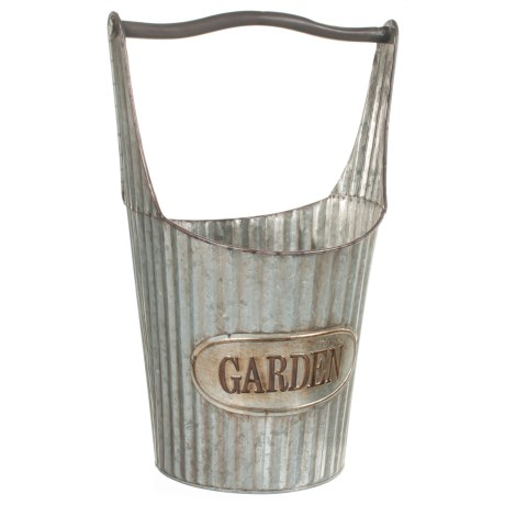 Pd Home & Garden Old Metal Pail Planter in Silver
