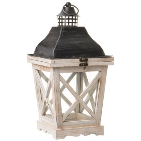 Pd Home & Garden Small Wooden Lantern in Black/White