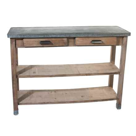 Pd Home & Garden Tin and Wood Table in Black/Natural - Closeouts