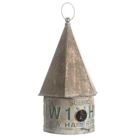 """Pd Home & Garden Tin Birdhouse - 18"""" in Grey - Closeouts"""