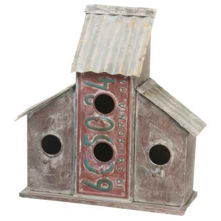 Pd Home & Garden Tin Corrugated Birdhouse in Red - Closeouts