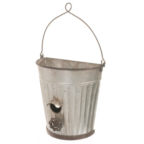 Pd Home & Garden Water Pail Birdhouse Planter in Silver