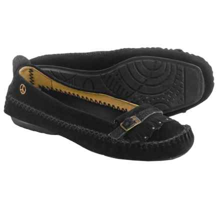 Peace Mocs by Old Friend Emily Moccasins - Suede (For Women) in Black - Closeouts