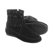 Peace Mocs by Old Friend Madison Mid Moccasins - Suede (For Women) in Black - Closeouts