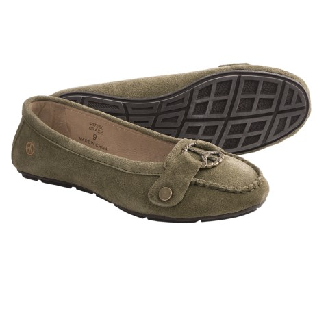 Peace Mocs Grace Shoes - Suede (For Women) in Green