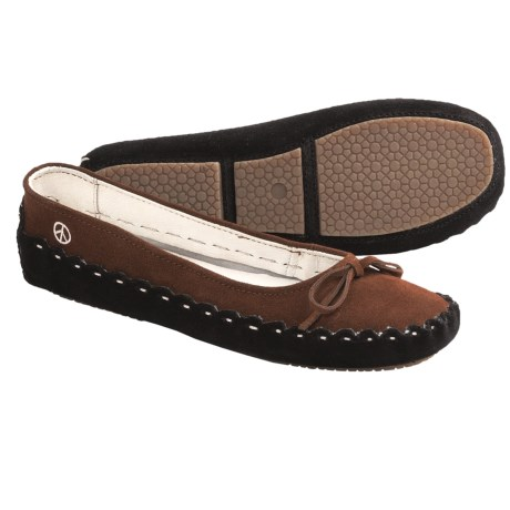Peace Mocs Karen Slippers - Suede (For Women) in Brown/Black