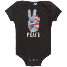 Peace Sign Baby Bodysuit (For Infants) in Black - 2nds