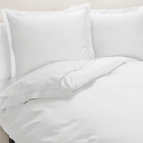 Peacock Alley Ballad Egyptian Cotton Duvet Cover Set - 310 TC, King in White