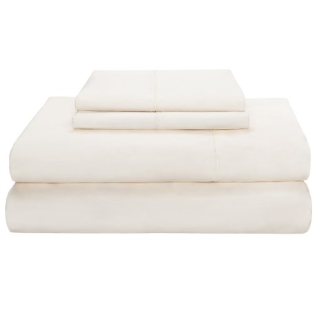 Peacock Alley Ballad Hemstitch Sheet Set - King, 310 TC Cotton in White