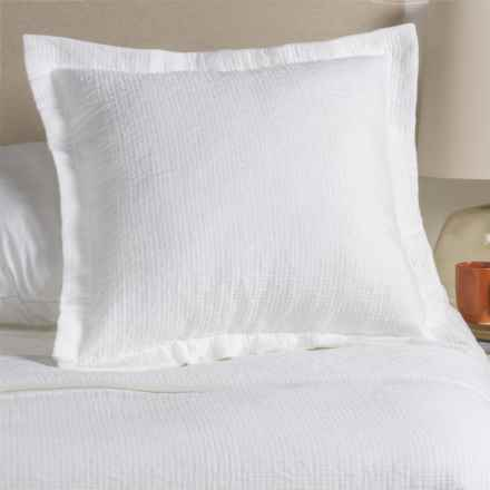 Peacock Alley Bradley Collection Stonewashed Pillow Sham - Euro, Egyptian Cotton in White - Overstock