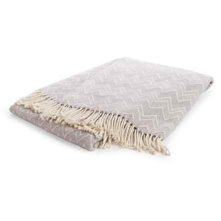 "Peacock Alley Chevron Throw Blanket - 50x70"", Cotton-Acrylic in Flint/Natural - Overstock"