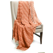 """Peacock Alley Chevron Throw Blanket - 50x70"""", Cotton-Acrylic in Ginger/Natural - Overstock"""