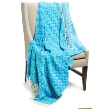 "Peacock Alley Chevron Throw Blanket - 50x70"", Cotton-Acrylic in Peacock/Natural - Overstock"