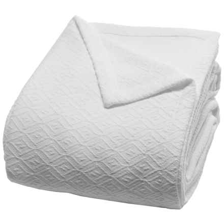 Peacock Alley Diamond Blanket - Queen in White - Closeouts