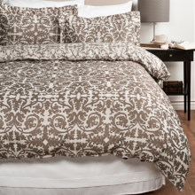 Peacock Alley Elena Yarn-Dyed Damask Duvet Set - King in Mocha - Closeouts