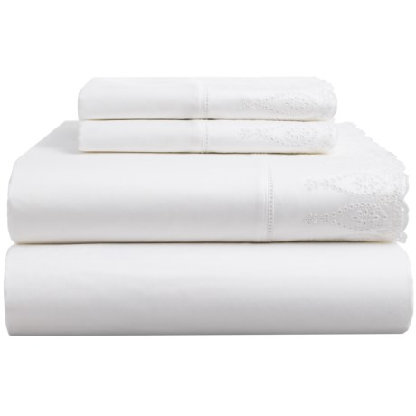 Peacock Alley Eyelet Flat Sheet - Queen in White