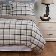 Peacock Alley Heathered Flannel Duvet Set - Queen in Blue/Green Plaid - Overstock