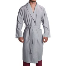 Peacock Alley Heathered Flannel Robe - Long Sleeve (For Men and Women) in Light Blue - Closeouts