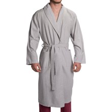 Peacock Alley Heathered Flannel Robe - Long Sleeve (For Men and Women) in Light Lilac - Closeouts