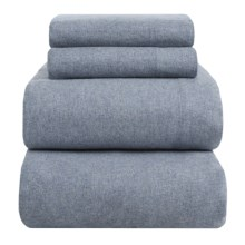 Peacock Alley Heathered Flannel Sheet Set - Full in Blue - Overstock
