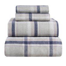 Peacock Alley Heathered Flannel Sheet Set - King in Blue/Green Plaid - Overstock