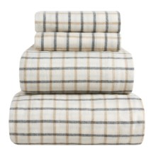 Peacock Alley Heathered Flannel Sheet Set - Queen in Tgrey Check - Overstock