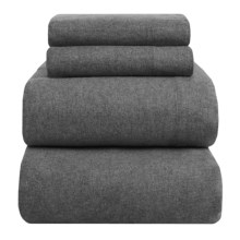 Peacock Alley Heathered Flannel Sheet Set - Twin in Charcoal - Overstock