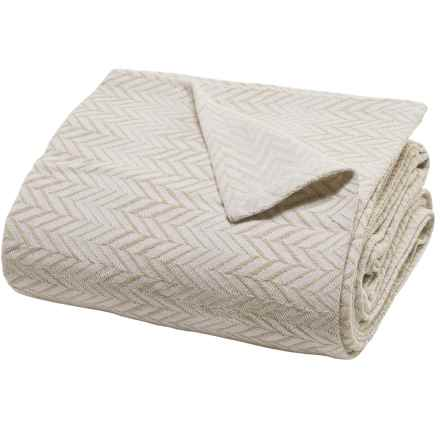 Peacock Alley Herringbone Blanket - Cotton-Linen, Queen in White - Closeouts