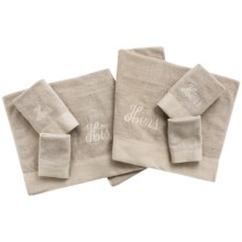 Peacock Alley His and Hers Monogram Towels - Set of 6, 600gsm, Cotton in His/Hers Taupe - Closeouts