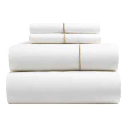 Peacock Alley Long-Staple Cotton Percale Sheet Set - Queen, 220 TC in Linen - Closeouts