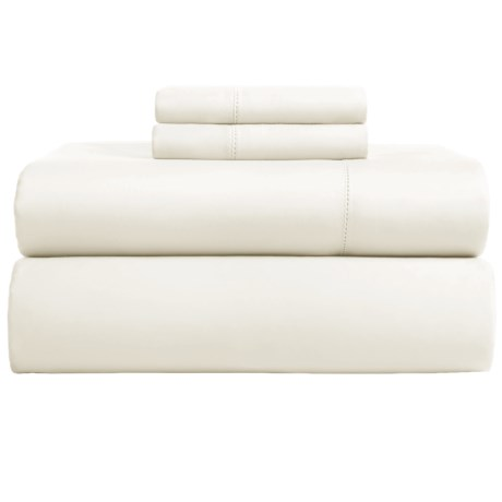 Peacock Alley Madison Hemstitch Sheet Set - Queen, 300 TC Cotton Sateen in Ivory