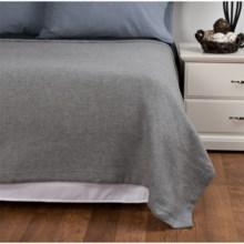 Peacock Alley Printed Flannel Blanket - Twin in Grey Herringbone - Overstock