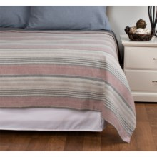 Peacock Alley Printed Flannel Blanket - Twin in Red Stripe - Overstock