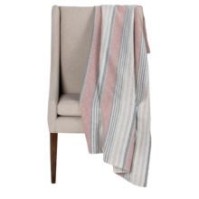 """Peacock Alley Printed Flannel Throw Blanket - 50x70"""" in Red Stripe - Overstock"""