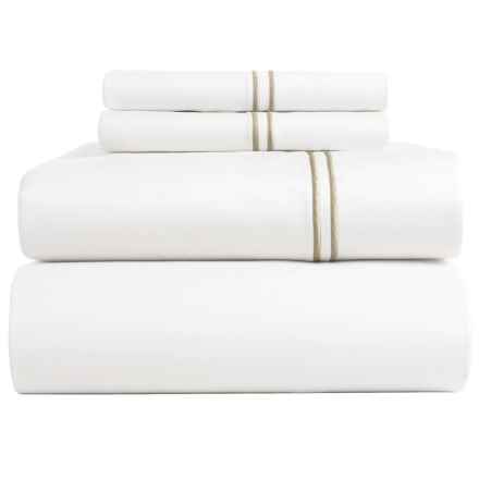 Peacock Alley Satin Stitch Sheet Set - King, 200 TC in Linen - Closeouts