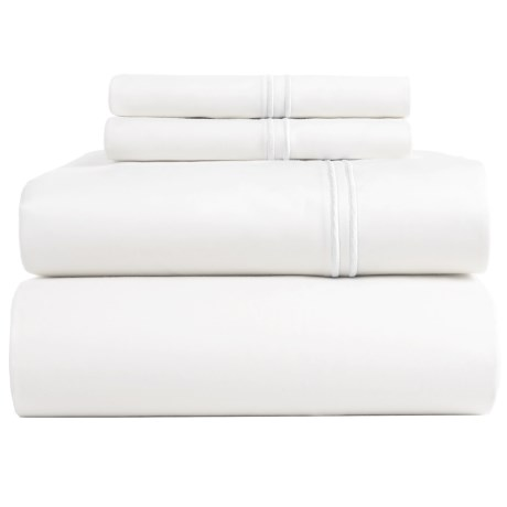 Peacock Alley Satin Stitch Sheet Set - King, 200 TC in White