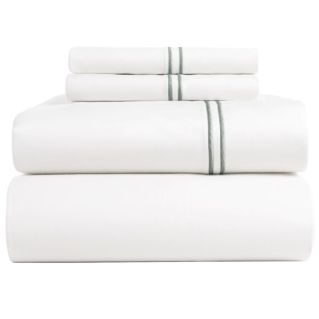 Peacock Alley Satin Stitch Sheet Set - Queen, 200 TC in Flint