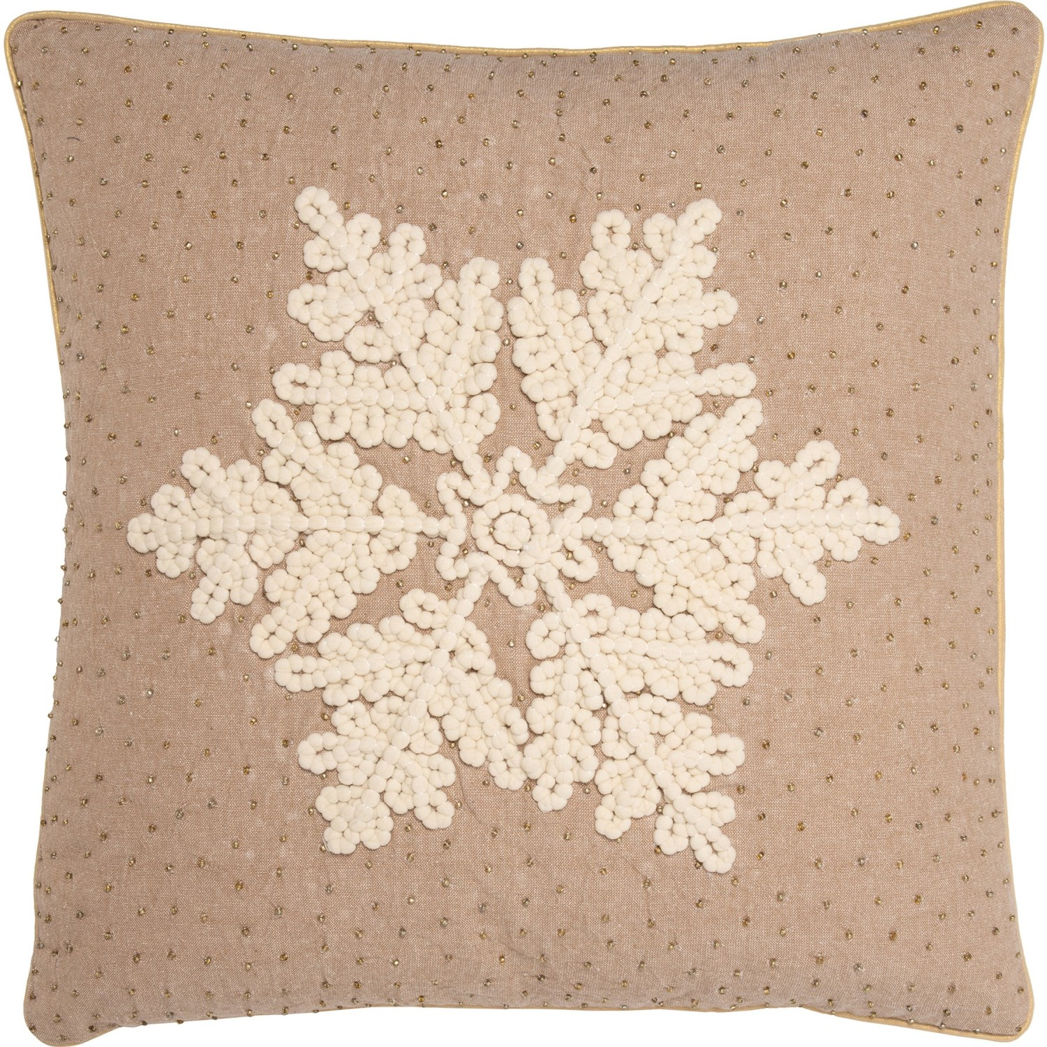 Peacock Alley Snowflake Beaded Throw Pillow 20x20 Feather Fill Beige Save 50