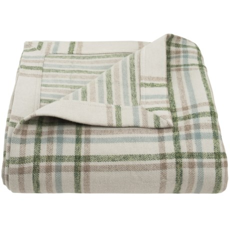 Peacock Alley Upcycled Cotton Flannel Blanket - Reversible, Queen in Oatmeal Plaid/Stripe