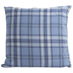"Peacock Alley Upcycled Cotton Flannel Decor Pillow - 24x24"" in Sapphire Plaid"