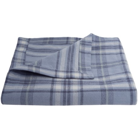 "Peacock Alley Upcycled Cotton Flannel Oversized Throw Blanket - Reversible, 50x70"" in Sapphire Plaid/Stripe"